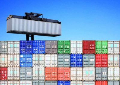 Shipping Container Above Stacked Others